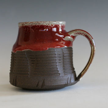 Red Coffee Mug, handmade ceramic cup, handthrown mug, stoneware mug, wheel thrown pottery mug, unique coffee mug, ceramics and pottery