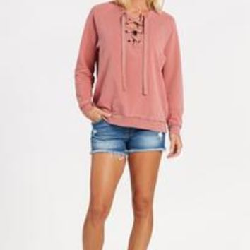 Love Lace Up Pullover by PROJECT SOCIAL T