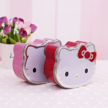 M15 1X Cute Kawaii Hello Kitty Mini Tin Plate Stationery Candy Box Desktop Storage Decor School Office Supply Clip Case Zakka