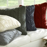 HAND-KNIT CABLE PILLOW COVER