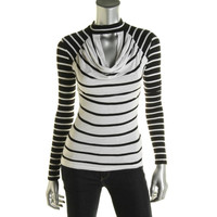 Guess Womens Striped Long Sleeves Pullover Top