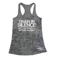 TRAIN IN SILENCE Let The Results Do The Talking Tank Top, Womens Workout Tank, Womens Gym Tank, Funny Workout Tank, Training Tank Top Shirt