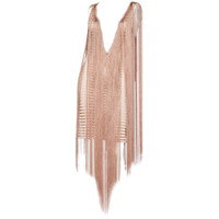 Jean Paul Gaultier Maille Sheer Nude Striped Body Con Fringe Dress