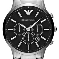Men's Emporio Armani 'Classic' Large Round Chronograph Watch, 46mm - Silver/ Black