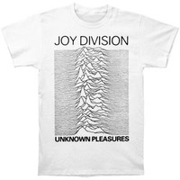Joy Division Men's  Unknown Pleasures Slim Fit T-shirt White Rockabilia