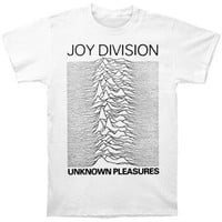 Joy Division Men's  Unknown Pleasures Slim Fit T-shirt White