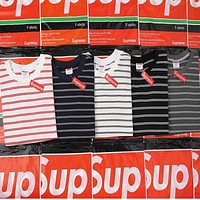 Supreme Women Men Fashion Stripe Casual T-Shirt