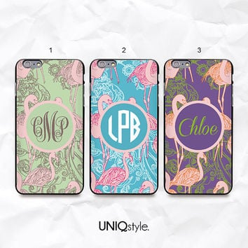 Flamingo personalized monogram custom name case for iPhone 6 4/4s 5/5s 5c, Samsung s4, s4 active, s5, s5 active, Note2, Note3 neo - N44