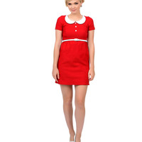1960s Style Mod Red & White Cap Sleeve Stretch Annie Dress