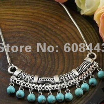 NR100 Turquoise Stone Pendant Sweater Tibet Silver Color vintage Fashion necklace Jewelry Jewellery Bijouterie for Women Girl's