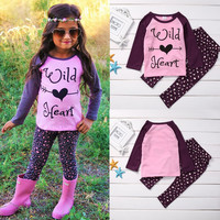 Baby Girl Kid Clothes Set Autumn Winter Toddler Shirt Top Long Sleeve Pants Clothes 2pcs Outfit Set Girls 1-6Y