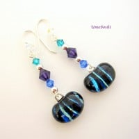 Long Dangling Dichroic Glass Cabochon Earrings With Swarovski Crystals Sterling Silver