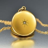 Diamond Paste Star Gold Fill Antique Edwardian Locket