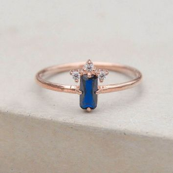 Baguette Crown Ring - Rose Gold + Blue