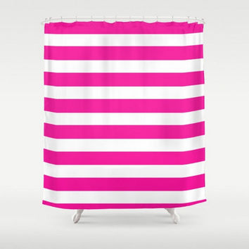 Shower Curtain Pink White Stripes Design Home Bath Room  Decor