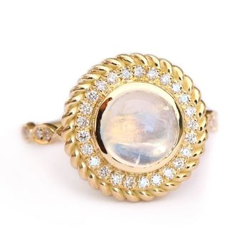 Moonstone & Diamond Halo Unique Ring, Right Hand Ring, Natural Diamond Halo Statement Ring, Moonstone Cocktail Ring, Gold Diamond Ring Storm