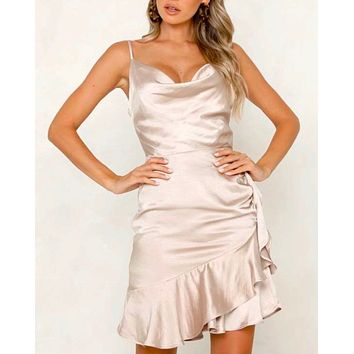 on thin ice satin cowl neck mini dress with ruffle hem in Champagne