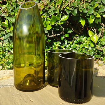 Vase or Carafe Pitcher Made From a Recycled Wine Bottle Lg Quantities Available