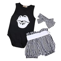 3PCS Set Newborn Baby Girl Clothes 2017 Summer Sleeveless Slip Romper +Striped Bloomers Bottom Outfit Toddler Kids Clothing