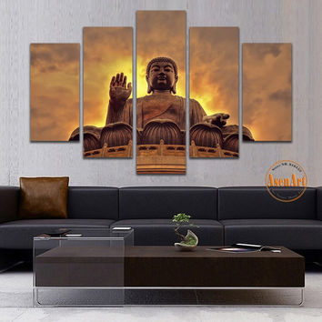 5 Panel Wall Painting Buddha Wall Art Canvas Printed Painting for Living Room Modern Home Decoration Unframed