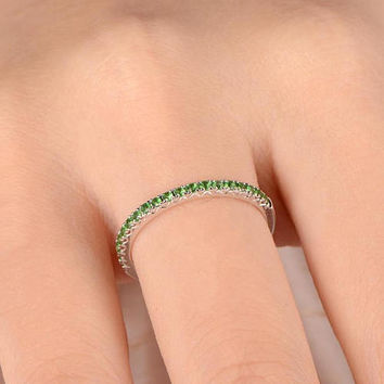 Tsavorite Ring Tsavorite Wedding Band Half Eternity Ring Natural Gemstone Bridal Ring Stacking Matching Band Solid 14K White Gold Customized