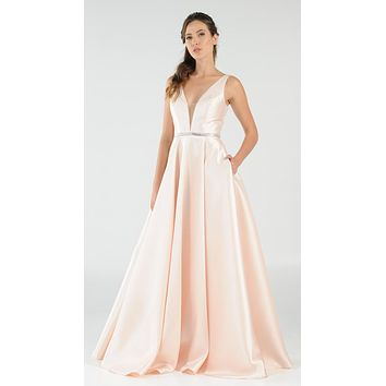 Blush V-Neck A-Line Mikado Prom Gown with Embellished Waist