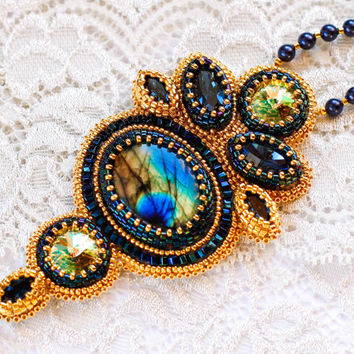 Dark Blue and Gold Necklace with embroidered Pendant with Natural Labradorite, Swarovski crystals and  Miyuki gold seed beads