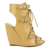 Fahrenheit Rashida-08 Lace-up wedge sandals in Tan @ ippolitan.com