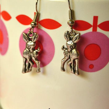 Bambi Earrings - Antique Silver Deer Charm Earrings - Nickel Free