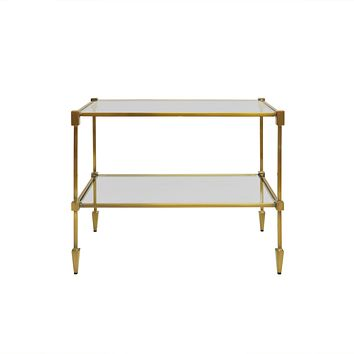 Worlds Away Lasso Two-Tiered Brass Side Table