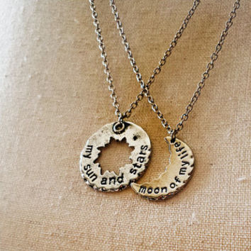 My Sun and Stars + Moon of My Life set of 2 Stamped Necklaces - Yer Jalan Atthirari Anni - Shekh Ma Shieraki Anni - Game of Thrones Jewelry