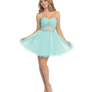 Mint Beaded Sweetheart Chiffon Dress 2015 Prom Dresses