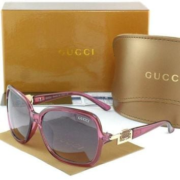 Gucci Stylish Women Men Casual Letter Sun Shades Eyeglasses Glasses Purple Frame I