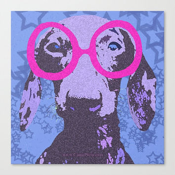 "Dachshund, Pet (8"" x 8"") Pop Art Print Photography - Hot Pink, Blue, Light Blue, Midnight Blue, Sapphire - Wall Art Home Decor, Wiener Dog"