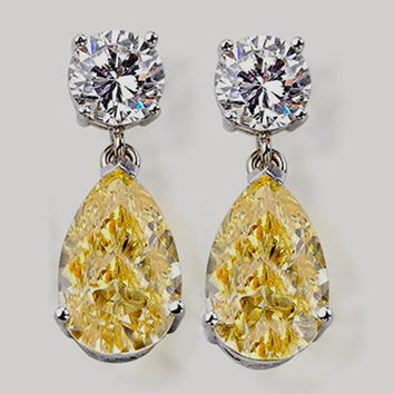 Yellow canary diamond 4.02 carat earring white gold earring gorgeous