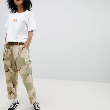 Obey Relaxed Cargo Pants In Camo With Pockets at asos.com