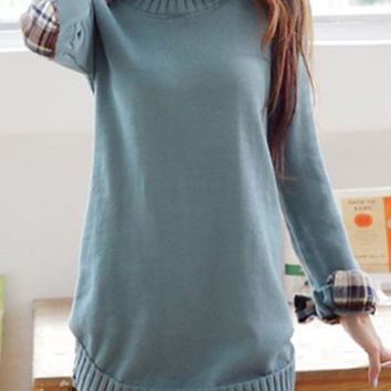 Long Sleeve Shirt Collar Checked Sweater