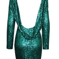 Sexy Backless Sequin Bodycon Mini Dress