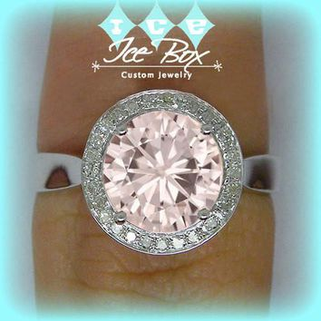 Pink Moissanite Engagement Ring 1.5ct Round Peach Pink Moissanite in a 14k White Gold Diamond Halo Setting - Nice Morganite alternative
