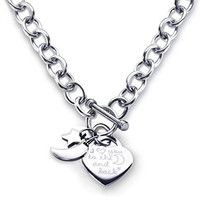 Heart Toggle Necklace I Love You to the Moon and Back Charm Stainless Steel 18""