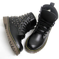 Womens Shiny Black Metal Studded Zip Combat Boots / Ladies Military Biker Shoes