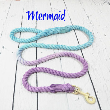 Purple Dog Leash Ombre Rope Multi Color Lead, Hand Dyed Natural Soft Cotton, New Puppy Gift, Nautical Dog Leash