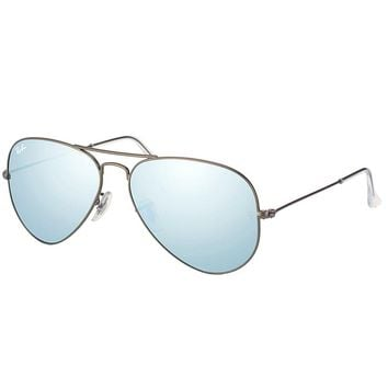 Ray Ban Aviator Classic RB 3025 029/30 Matte Gunmetal Sunglasses Silver Flash 55
