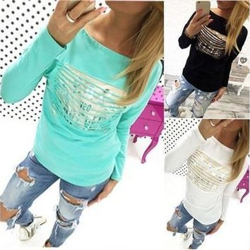 Hot Fashion Womens Loose Pullover T Shirt Long Sleeve Cotton Tops Shirt Blouse TEE [8045198983]