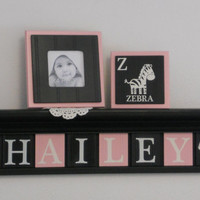 "Zebra Baby Girl Nursery Decor Wall Sign - 8 Letters - Personalized Pink and Black Baby Name HAILEY with Zebra 30"" Black Shelf, Custom Gifts"