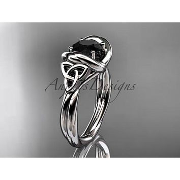 14kt white gold trinity celtic twisted rope wedding ring with a Black Diamond center stone RPCT9146