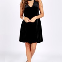 Velvet Keyhole Dress Black