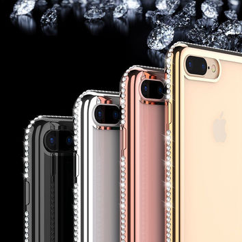 For iPhone 7 7 Plus Case Transparent Soft Rubber Capa Bling Rhinestone Coques For iPhone 5 5S SE 6 6S 6 Plus 6S Plus Ultra Cover