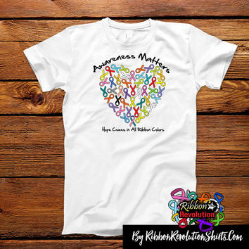 Awareness Matters Heart Colorful Ribbon Shirts