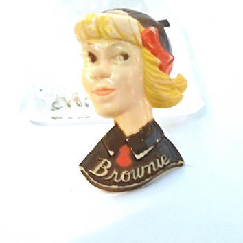 Vintage 1940's Brownie Figural Girl Scout Pin Celluloid Broach Jewelry Girl Head girls Scout's Jewelry 4H Orginazation Vinta...